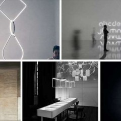 Da sinistra, Arrangements, Alphabet of light, Wireflow Chandelier, 13° Angolo, Cool Square Long © Dal web